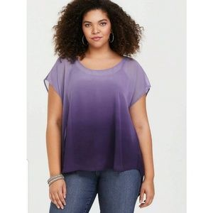 Torrid Womens sz 0 Purple Violet Sheer Ombre Chiff
